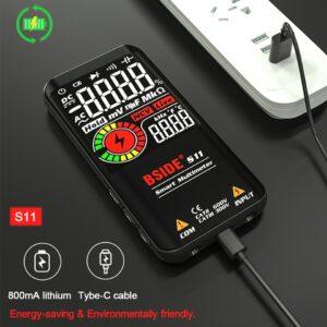 BSIDE – multimètre numérique à 9999 points, 3.5 pouces, affichage couleur LCD