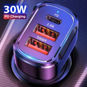 Chargeur de voiture 30W PD USB C, Charge rapide 4.0
