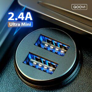 Mini chargeur de voiture à double USB, charge rapide